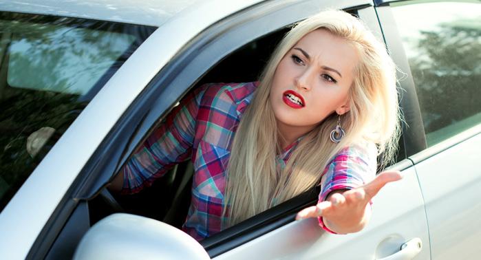 conductora enfadada